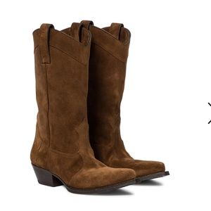 New Saint Laurent Lukas brown suede cowboys boots
